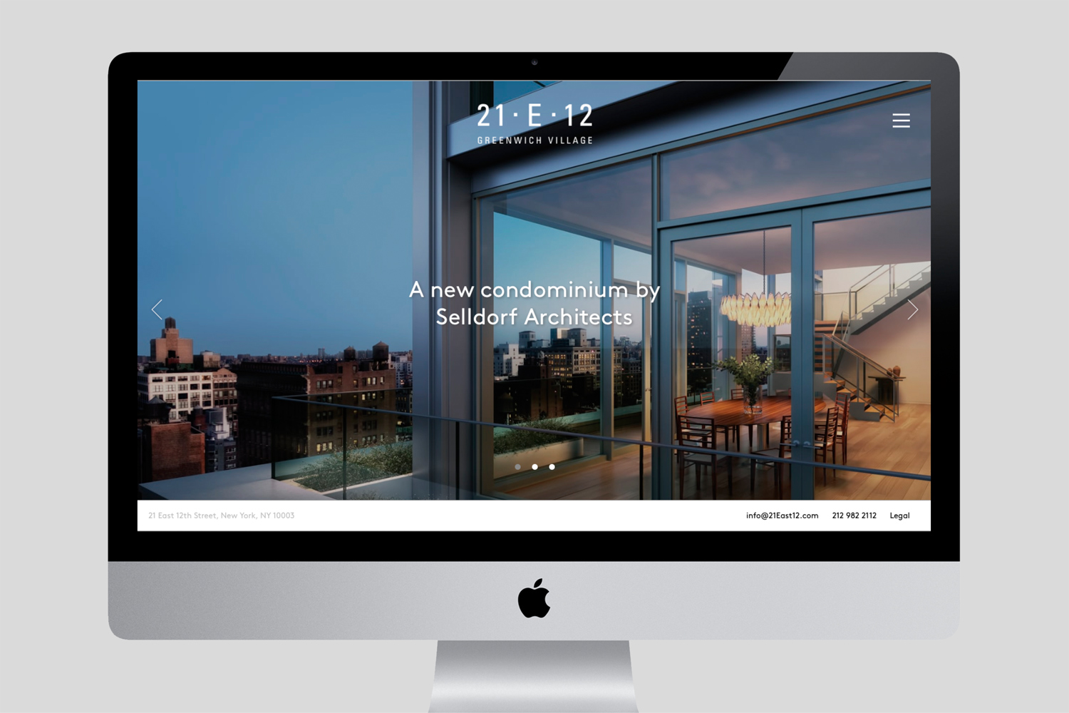 Property branding for 21 East 12, Website 01 - Wordsearch