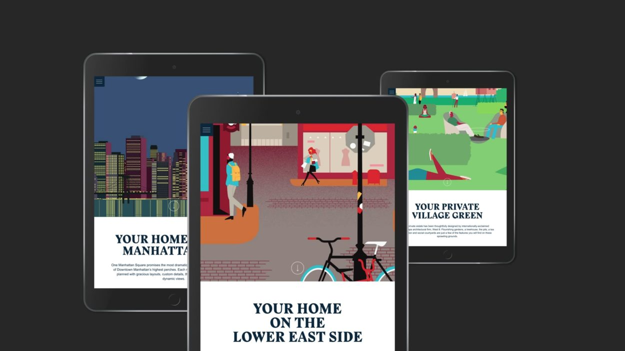 real estate marketing one manhattan square website