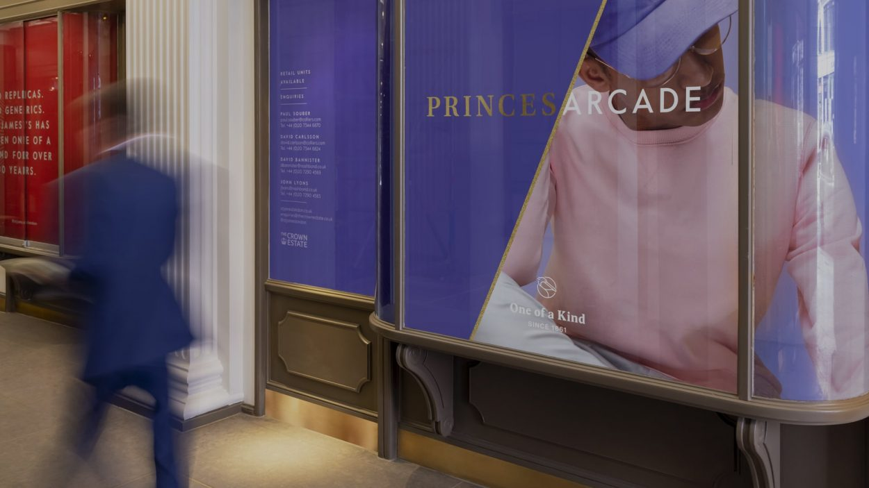 branding for princes arcade london - retail signage