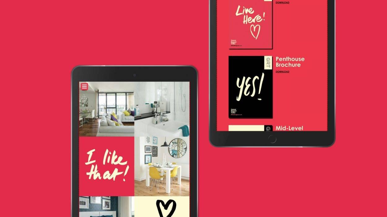property branding for grand regent tower london - website