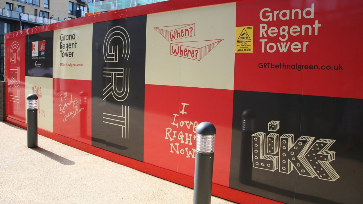 property branding for grand regent tower london - hoarding