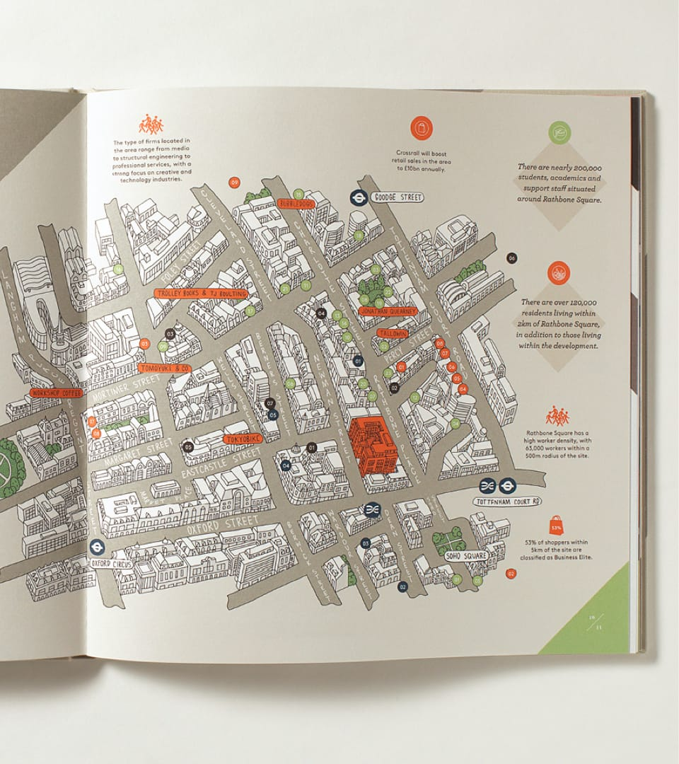 property marketing for rathbone square london - map 1