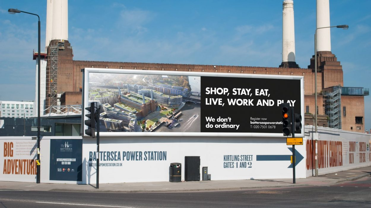 property marketing for battersea power station london - hoarding