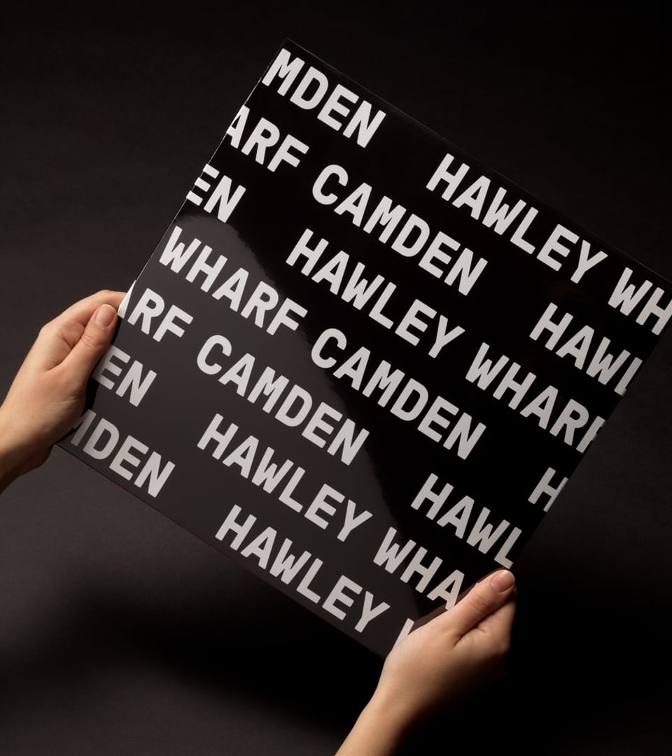 property marketing for hawley wharf camden - brochure cover