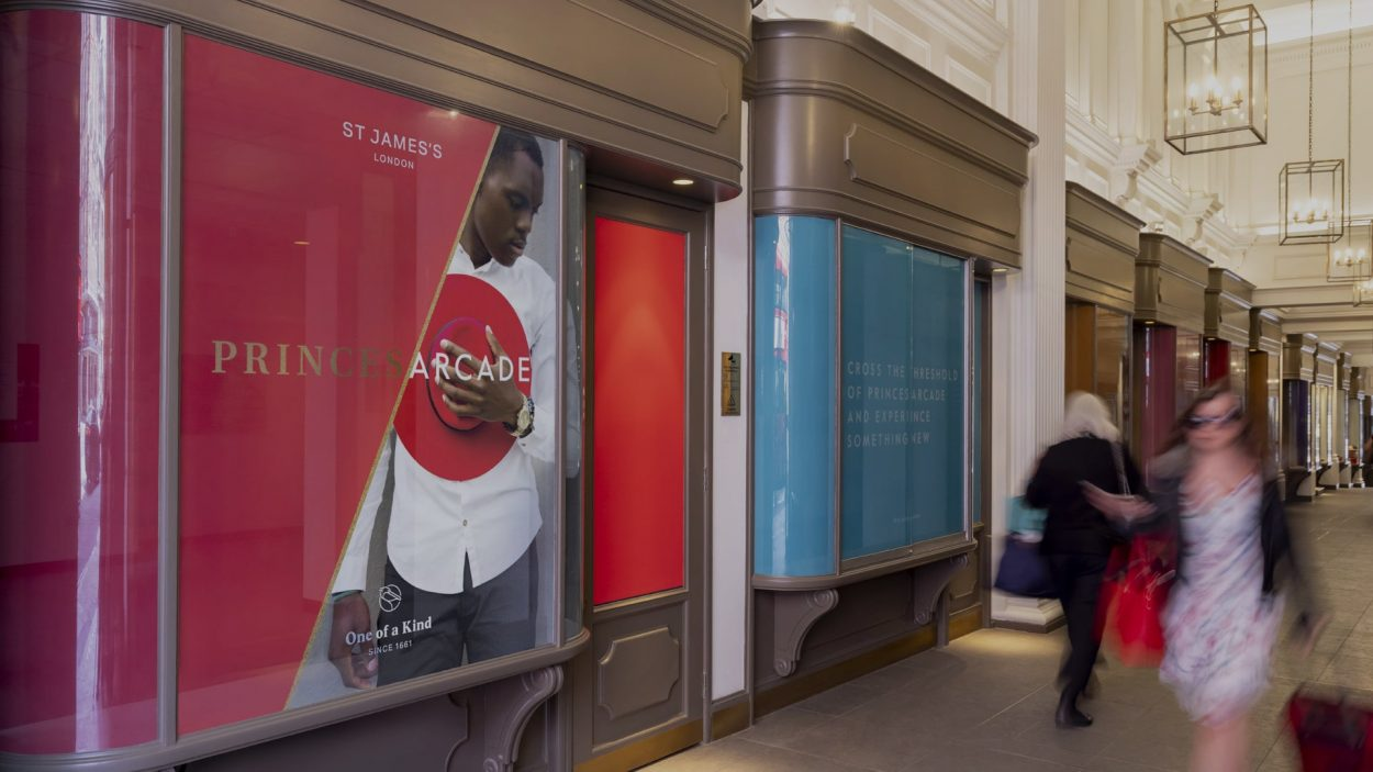 property marketing for princes arcade London - retail signage
